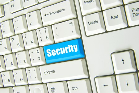 Keyboard with blue button of connect to security photo
