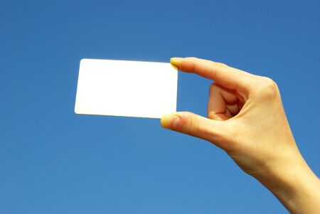 Hand holding the blank card Stock Photo - 4734137