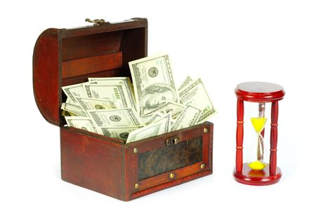 whiteness: box with money and sand-glasses on a whiteness Stock Photo