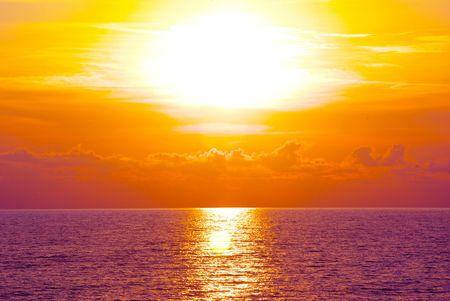 Fantastic sunset over the sea   photo