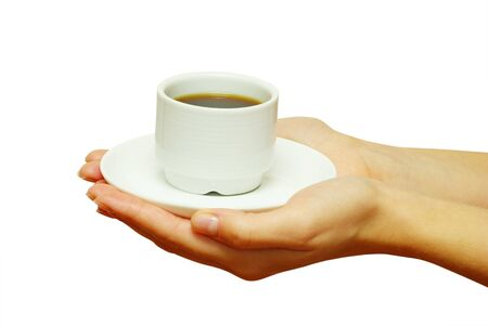 coziness: Two hands holding a cup of fresh coffee. Stock Photo