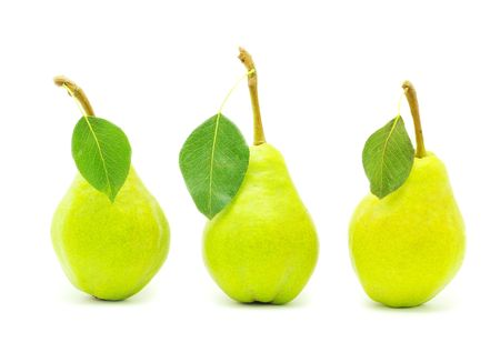 quencher: ripe fresh green pear with leaf isolated on white
