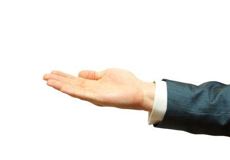 Empty businessman hand isolated on white photo