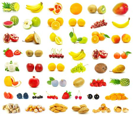 large page of fruits on white background photo