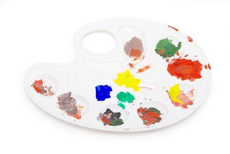 pallette: Peintres blanc pallette et peintures sur blanc