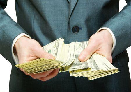 dinero: Mano con dinero aislado sobre fondo blanco