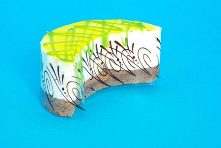 fresh cake isolated on a blue background Stock Photo - 6577113