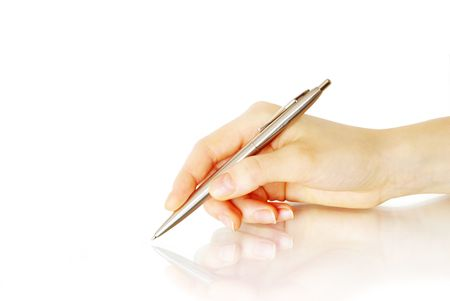 Hand and pen on the white background photo