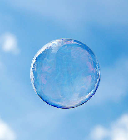 Bubbles isolated on a sky background photo
