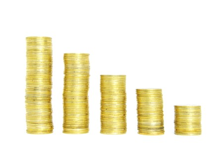 whiteness: stock of coins isolated on a whiteness Stock Photo