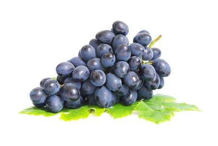 Fresh grapes brunch with green leafs
