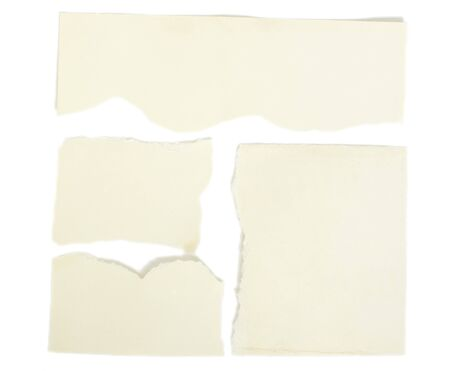 collection of ripped white paper notes on white background photo