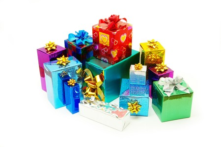 christmasy: Christmas box gifts with satin bow isolated on white background Stock Photo