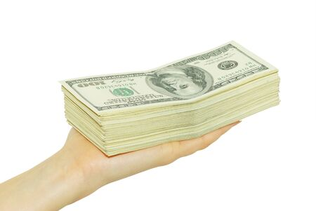 Hand with money isolated on white background Stock Photo - 8189488