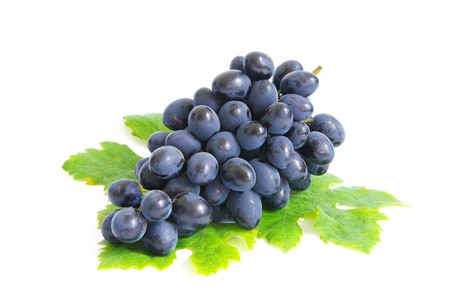 Fresh grapes brunch with green leafs Stock Photo - 8189481