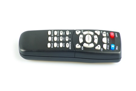 Black tv remote control isolated on white photo