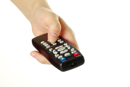 hand holding a remote control isolated over a white background Stock Photo - 8320542