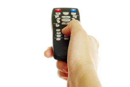remote control in hand isolated on white background Stock Photo - 8320544
