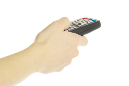 remote control in hand isolated on white background Stock Photo - 8320188