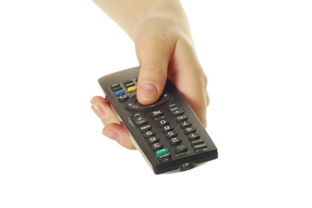 remote control in hand isolated on white background Stock Photo - 8320195