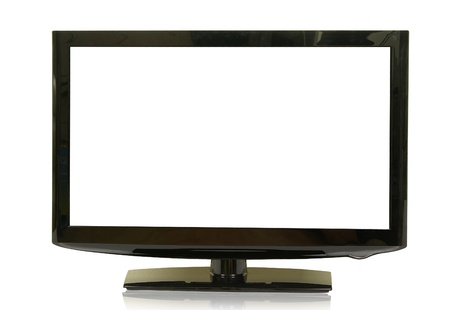 frontal: frontal view of widescreen lcd monitor isolated on white Stock Photo