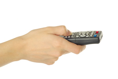 hand holding a remote control isolated over a white background Stock Photo - 8371379