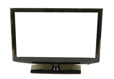 frontal view of widescreen lcd monitor isolated on white Stock Photo - 8371362