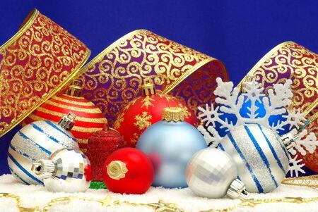 Christmas decoration over blue background photo