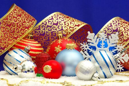 Christmas decoration over blue background photo
