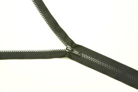 unzipped: Unzipped blue metal zipper on white background Stock Photo