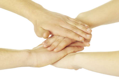 jointly: pile of hands isolated on a white Stock Photo