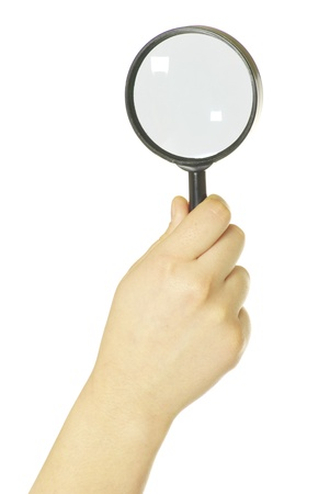 hand holding a magnifying glass on white Stock Photo - 8813771