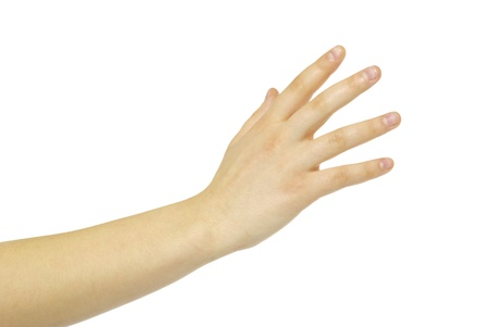 Extended hand for help on a white background Stock Photo - 8857280