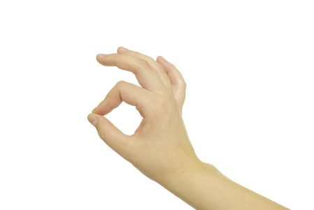endorsement: Gesture of the hand on white background