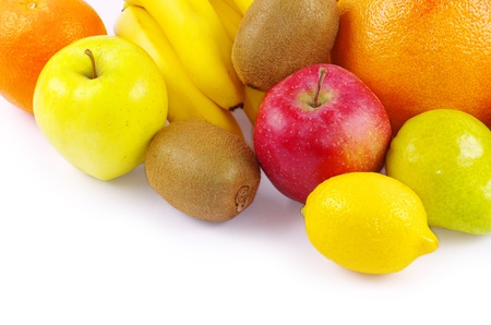 digest: Composition with fruits isolated on white