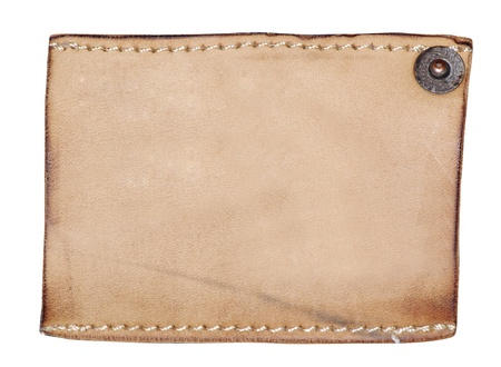 Highly detailed closeup of blank grungy leather label photo