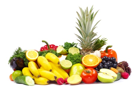 Fresh vegetables and fruits on white photo