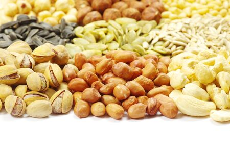 nuts collection isolated on white background photo