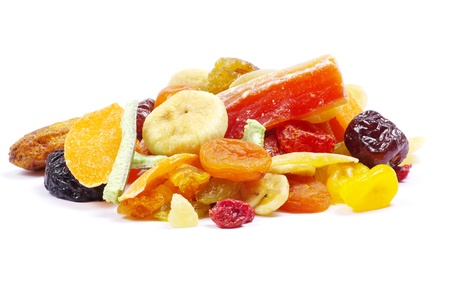 mix dried fruits collection on white photo