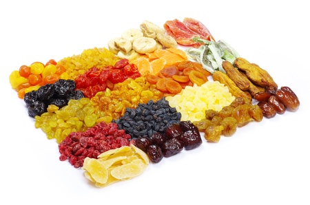 assortment dried fruits on white Stock Photo - 9215542