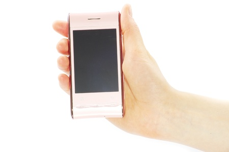 female hand is holding a modern touch screen phone Stock Photo - 9244729