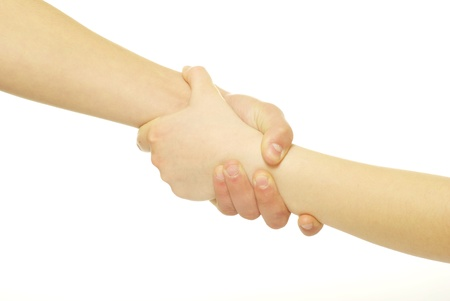 grip: hand in a hand isolated on white Stock Photo