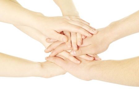 several: pile of hands isolated on a white Stock Photo