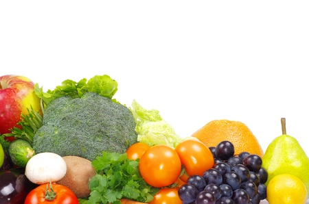Fresh vegetables and fruits on white Stock Photo - 9435940