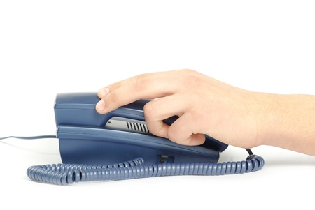 shove: telephone receiver in hand isolated on white