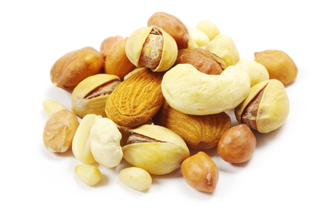 Assorted mixed nuts on white background photo