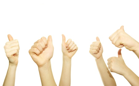 hand lifted: Many hand lifted up on white background