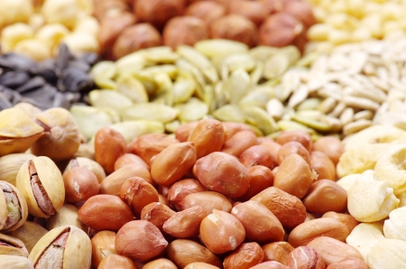 seeds and nuts with collection Stock Photo