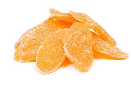 Dried mango on white background