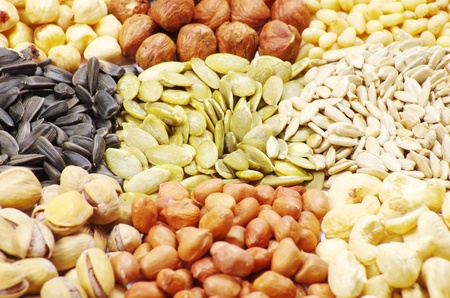flax seed:  seeds and nuts with collection Stock Photo